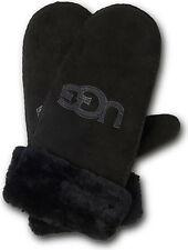 UGG Gloves Classic Logo Sheepskin Shearling Mittens Black S/M NEW