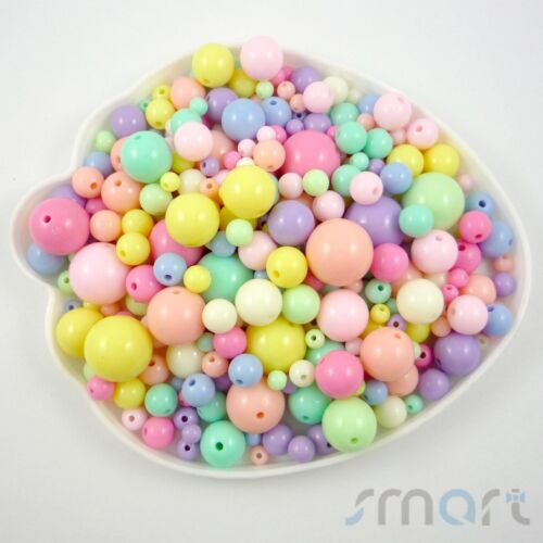 Multi-Colored Round Plastic Beads Jewelry Making 50g Size 6-20MM Craft DIY-B