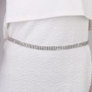 foto ufficiali 8511e 2c510 Dettagli su Moda Cintura Argento 4 Row Catena Strass Per Donna Ragazza  Taglia 65-100cm