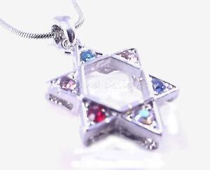 Star-Of-David-Magen-Judaica-Necklace-Pendant-Kabbalah-Silver-Stones-Jewish-Gift