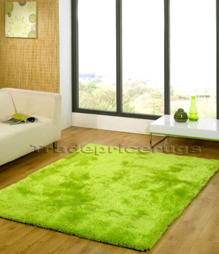 SMALL EXTRA LARGE THICK CHUNKY SOFT LUXURIOUS VIBRANT LIME GREEN SHAGGY RUG