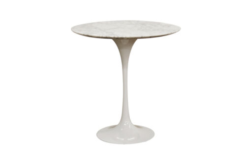 """Saarinen Style Mid-Cent Modern White Tulip Faux Marble End Side Table 20/"""" Dia."""