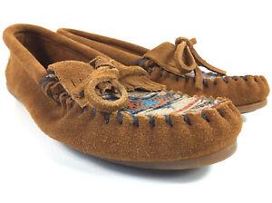 Minnetonka Moccasins El Paso Women's Kiltie Brown Leather Southwestern Size 7