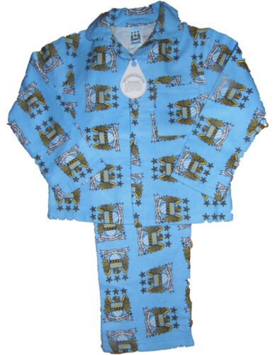 Manchester City Football Club Traditionnel Boutonnée Pyjamas Commère Flanelle