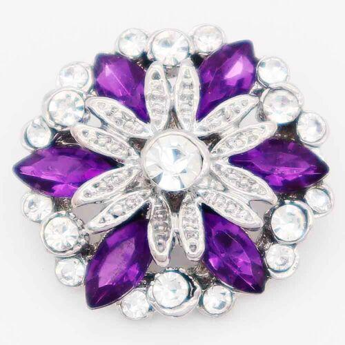 passend 18mm Chunk Armband Klick Button Blume Kristall 6820 Lila