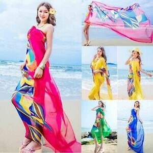 60682399e6 Women Chiffon Beach Bikini Cover Up Wrap Scarf Pareo Swimwear Sarong ...