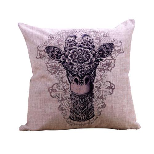 Animal Throw Pillow Case Polyester Linen Cushion Cover Living Room Home Decor