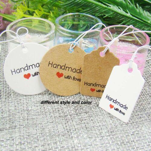 Hecho a mano con amor etiquetas con precio de tienda de venta por menor etiqueta de cadena de empaquetado HP023