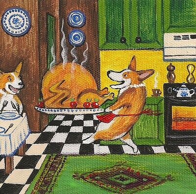 2x2 DOLLHOUSE MINIATURE PRINT OF PAINTING RYTA SCALE 1:12 PEMBROKE WELSH CORGI