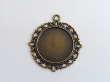 10 x Cabochon Base Settings Antique Bronze Round 35mm x 32mm, LF NF Findings