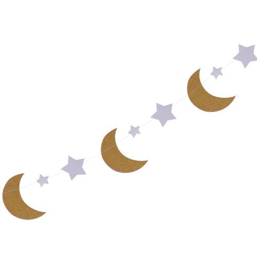 Wimpelgirlande Wimpelkette Fahnengirlande Girlande Kette mit Mond und Stern