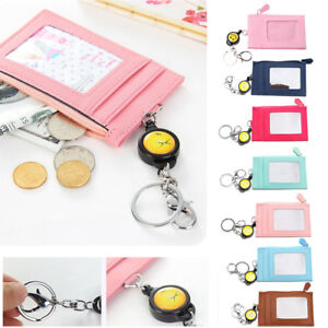 Coin Purses & Holders Fashion Women Men Travel Business Credit Id Badge Card Holder Coin Purse Synthetic Leather Retractable Reel Keychain