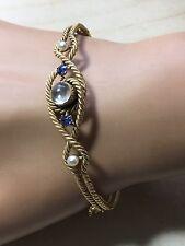 Vintage, Stunning 9ct, 9k. 375. Gold, Moonstone, Sapphire & Pearl Bracelet.