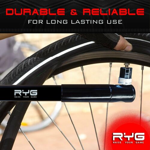 RYG Mini Bike Pump Portable Bicycle Tire Inflator with Air Pressure Gauge RYG