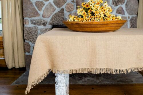 Deluxe Burlap Natural Tan Table Topper Tablecloth 40x40/""