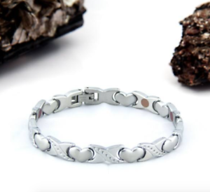Authentic-Pur-life-Negative-Ion-Bracelet-ELEGANT-STAINLESS-STEEL-HEART-PURLIFE