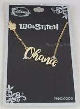 New Disney Lilo & Stitch Cursive Ohana Name Plate Necklace Hibiscus Charm