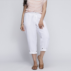 LANE BRYANT  60 White Linen Cargo Capri Crop Pants Plus Size 26 28 4X NWT