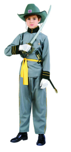 CONFEDERATE OFFICER CHILD COSTUME CIVIL WAR SOLDIER BOY UNIFORM KIDS GREY 90091