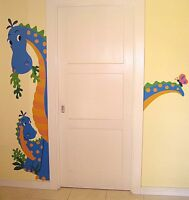 Dinosaur Friendly Dino Door Hugger Removable Peel Stick Vinyl Wall Murals Decals
