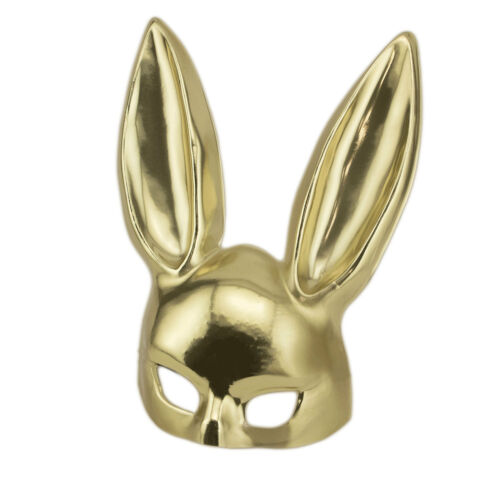Gold Rabbit Masquerade Bondage Roleplay Adult Bunny Costume Halloween Mask