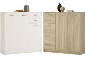 Crescita-Tall-3-Door-2-Drawer-Cupboard-in-Oak-or-White-Living-Cabinet-Bedroom