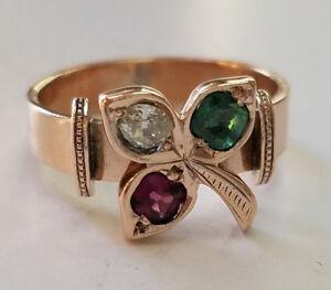 10K-Rose-Gold-0-45-CT-Diamond-Emerald-Ruby-Gemstone-Leaf-Design-Ring-Size-6