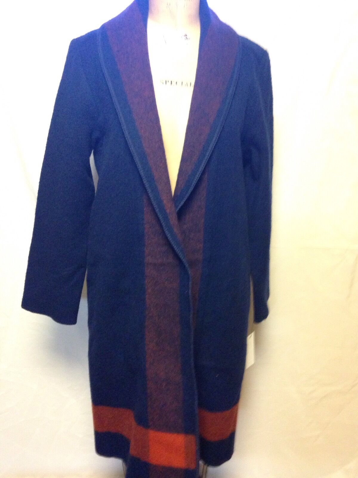 Woolrich Womens Eco-Rich Wool Blanket Coat  Navy NWT