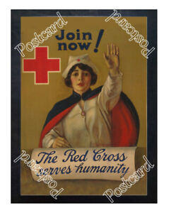 Historic-WWI-Recrutiment-Poster-The-Red-Cross-serves-humanity-Postcard