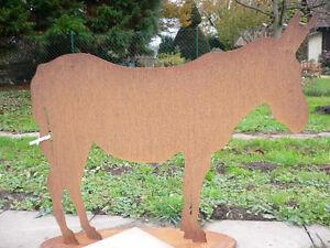 Esel 110x92cm pferd pony edelrost rost metall figur for Rostfiguren garten