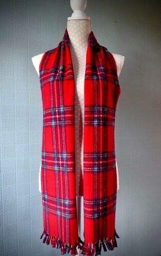 Red tartan scarf traditional Royal Stewart plaid wrap unisex long scarf