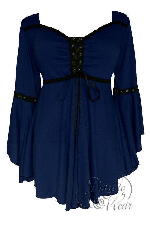 Dare To Wear Victorian Gothic Plus Größe Ophelia Corset Top in Midnight Blau