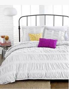 Details about Teen Vogue Ruched Stripes TWIN Solid Off White Comforter  Shabby Chic Anthro