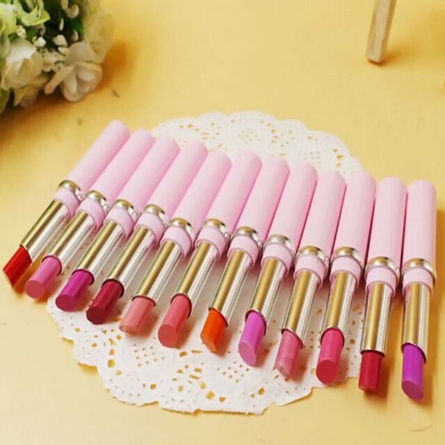 12 Pcs Colors Cosmetic Makeup Bright Lipstick Lip Gloss Rouge Long Lasting NEW