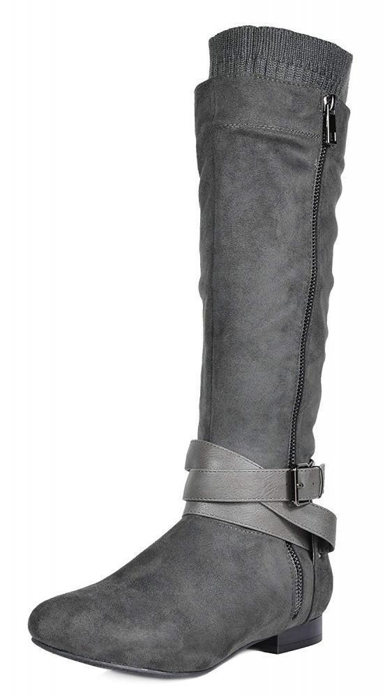 DREAM PAIRS Women's Beltran Grey Flat Slouch Knee High Boots Size 8 M US