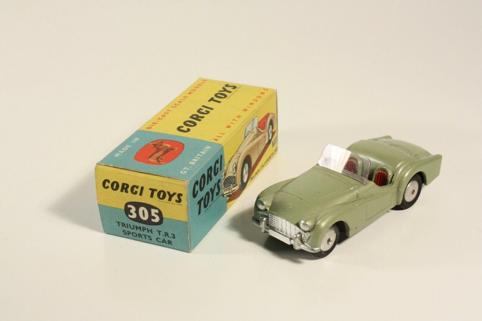 Corgi Toys 305 Triumph T.R. 3 Sports Car, Mint in Box  ab2290