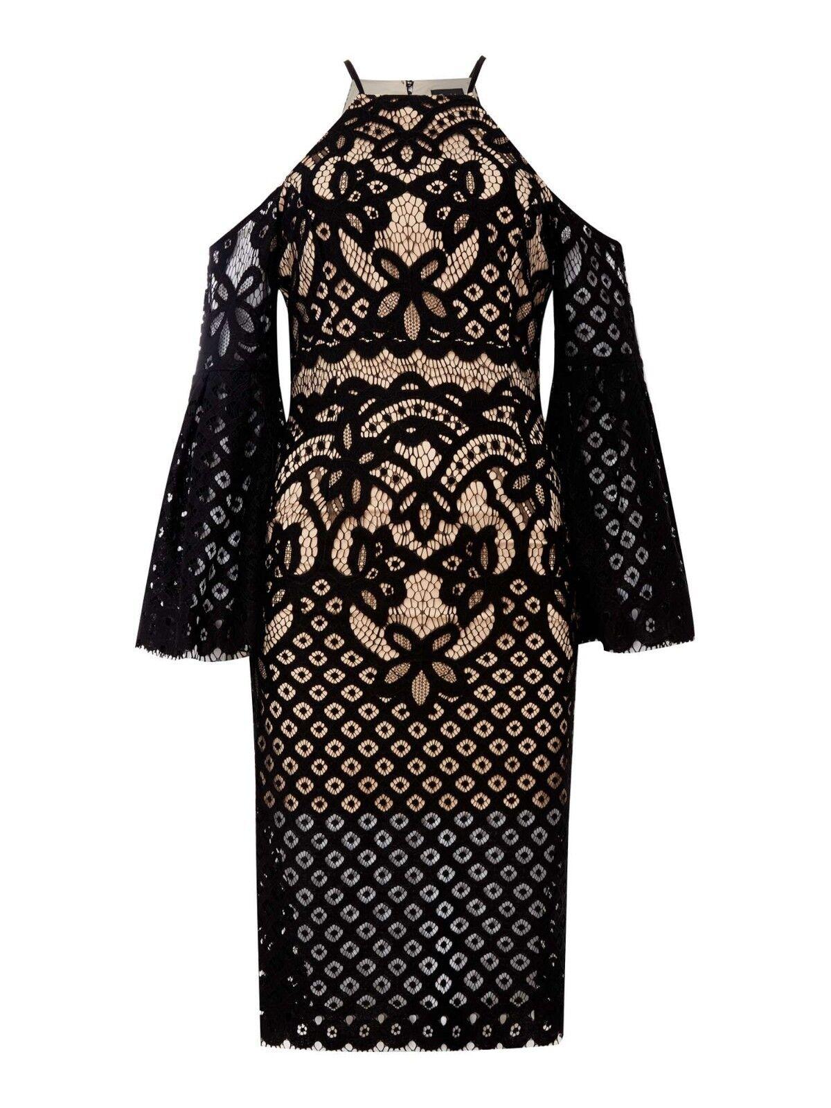 Bardot Cold Shoulder Lace Bodycon Dress schwarz Größe UK 8 LF182 HH 11