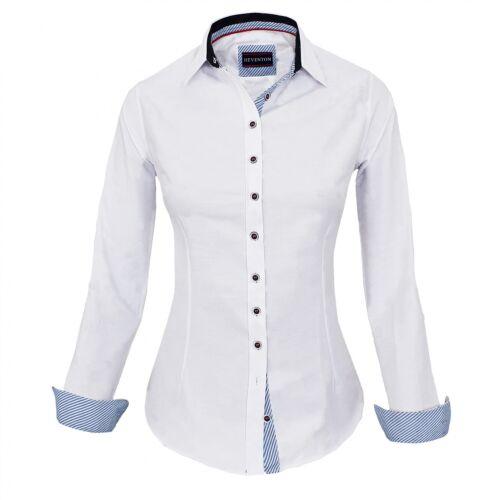 HEVENTON Bluse Damen Langarm Weiß Hemdbluse 34-42 elegant und hochwertig