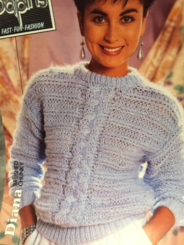 Ladies Brushed Chunky Cable Jumper Knitting Pattern