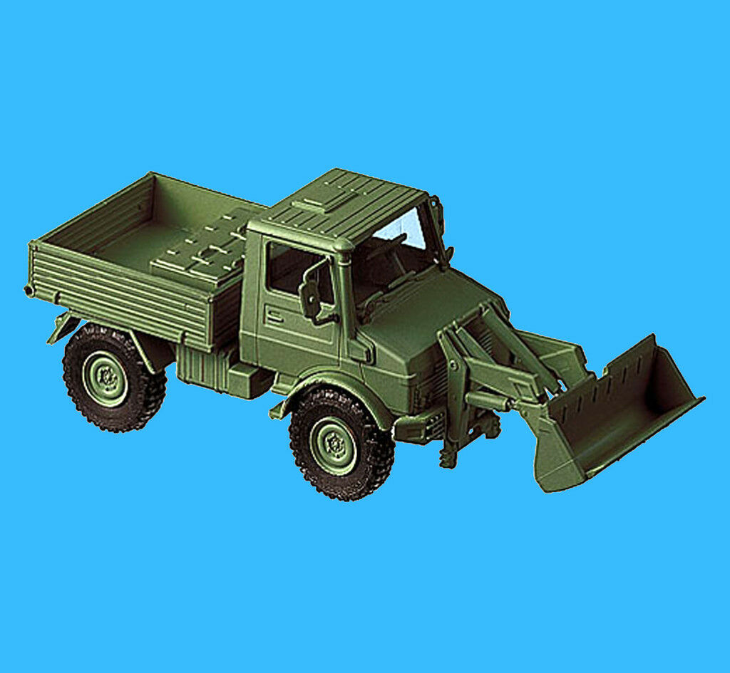 Roco Minitanks H0 669 UNIMOG U 1400 mit Frontlader Bundeswehr Neu OVP HO 1 87