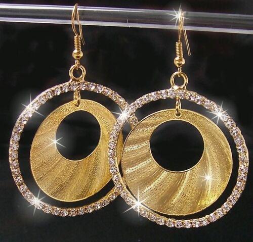 OHRRINGE Creolen 4cm STRASS Gold plattiert GOLDSCHMUCK Glitzer Schmuck O2020