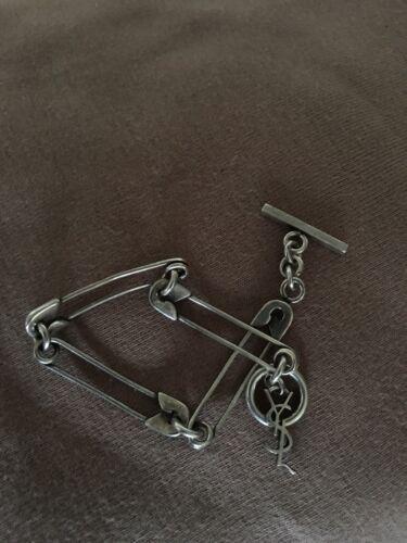 YSL Punk Linked Safety Pin Silver Bracelet