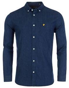 Camisa Camisas Indigo larga Lyle Blue de vaquera Dark hombre Fit para manga Scott Jean Slim ZqxpUxa