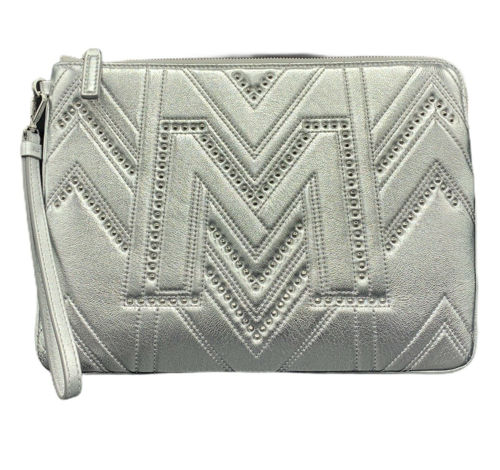 MCM LOGO QUILTED BERLIN SILVER LEATHER MEDIUM PURSE WRISTLET POUCH