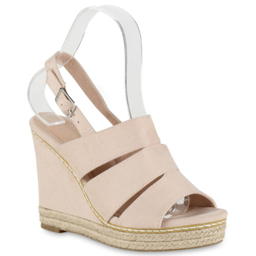 Damen Plateau Sandaletten Bast High Heels Keilabsatz Schuhe 826156 Schuhe