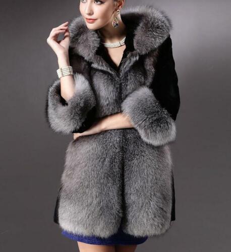 Women/'s Faux Fox Fur Hooded Coat  Winter Warm Slim Thicken Fluffy Outwear Casual