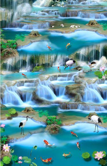 3D Fisch Stein Wasser 053 Fototapeten Wandbild Fototapete Bild Tapete Famili
