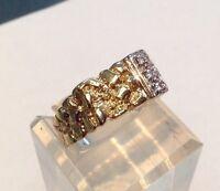 14k Gold Nugget Diamond Ring - Free Shipping