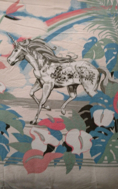 VTG MORA Parrosso Unicorn Soft Acrylic Throw Blanket 60  x 80  Reversible EUC