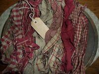 100 Prim Homespun Fabric Strips & Hang Tag...cinnamonvanilla Scented...red